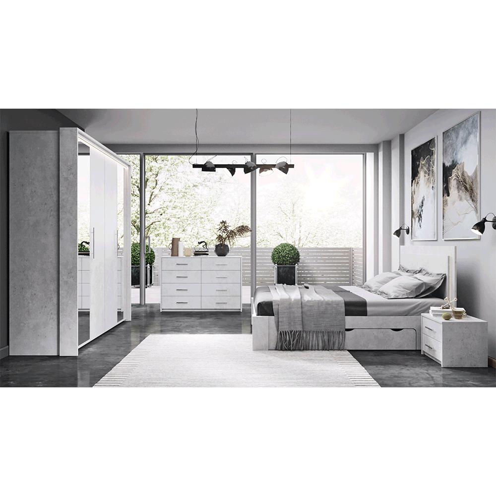 Ložnicová sestava (postel + 2x noční stolek + skříň), šedý beton, ALDEN, TEMPO KONDELA