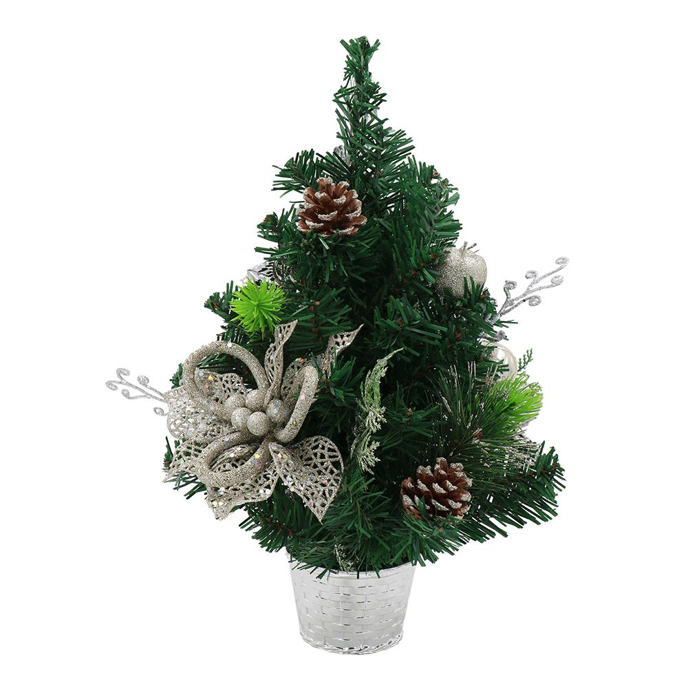 Brad de Crăciun cu decorațiuni, verde cu ghiveci argintiu, 40 cm, CHRISY