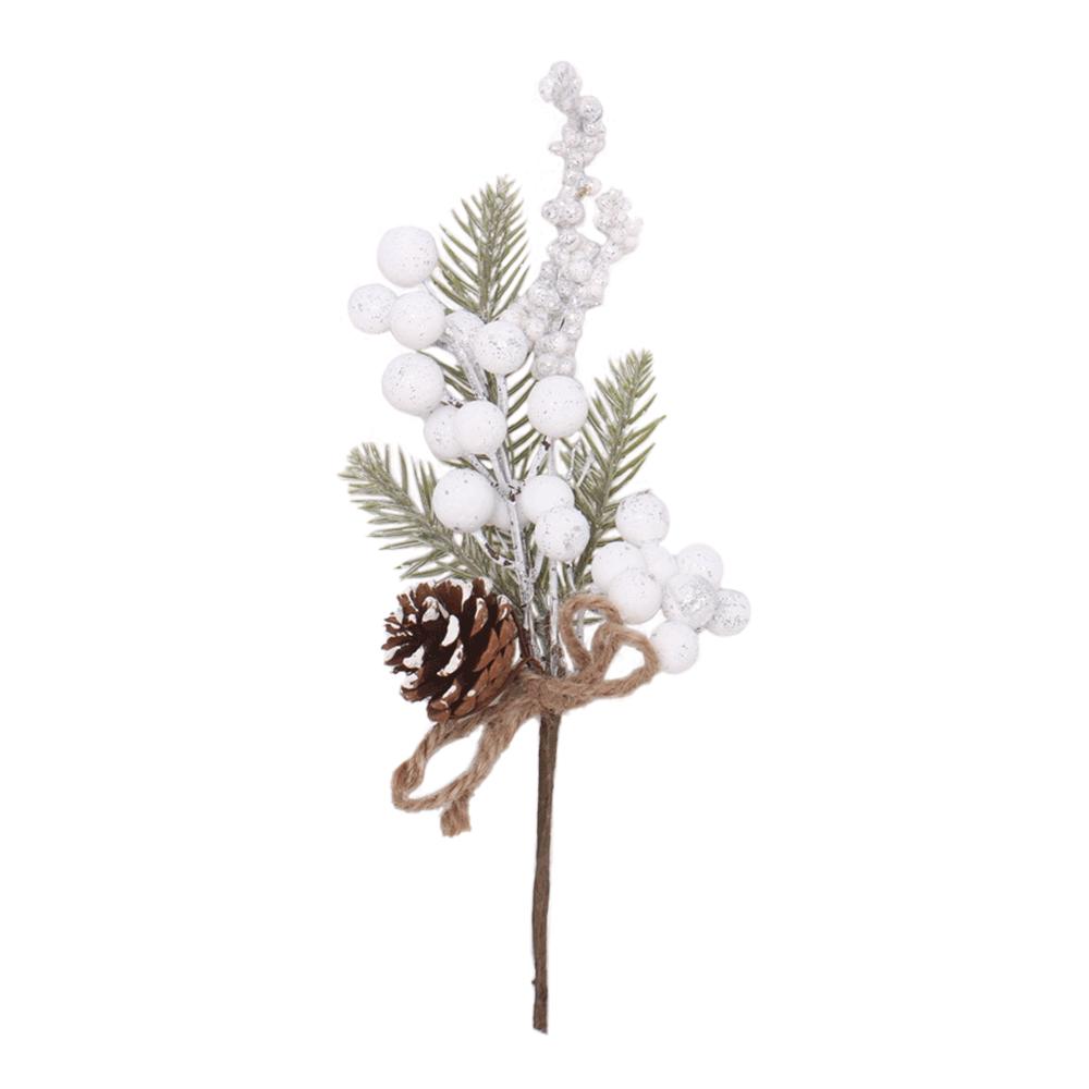 Crenguțe de Crăciun, set de 6, 28 cm, alb, GREN TIP 2