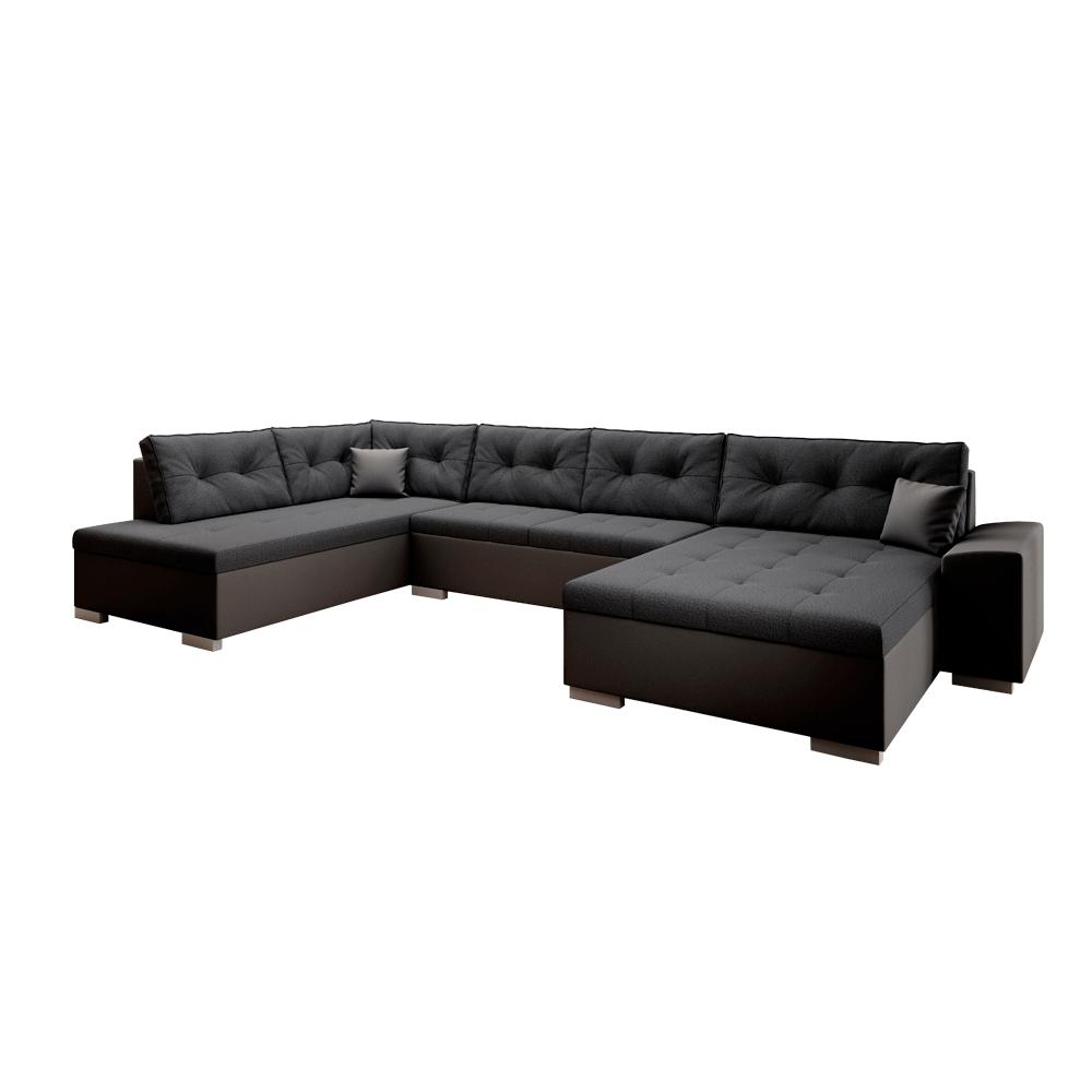 Canapea în formă de U, ţesătură din piele ecologică neagră / gri închis, stânga, VITOS