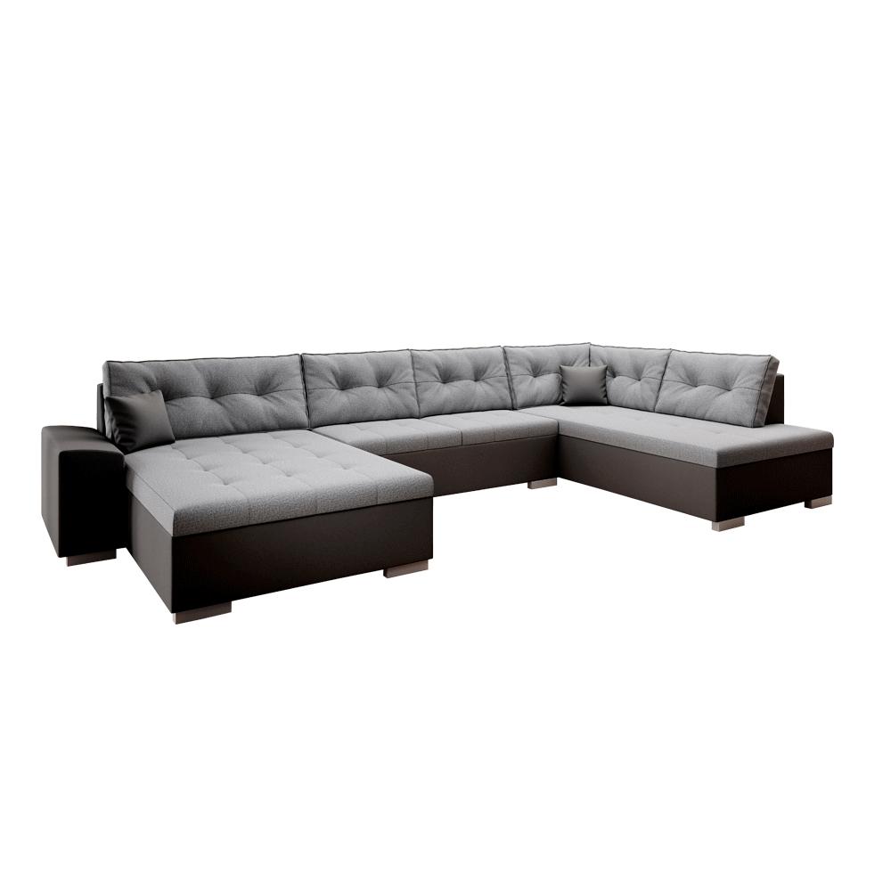 Canapea în formă de U, piele ecologică, ţesătură neagră / gri, VITOS