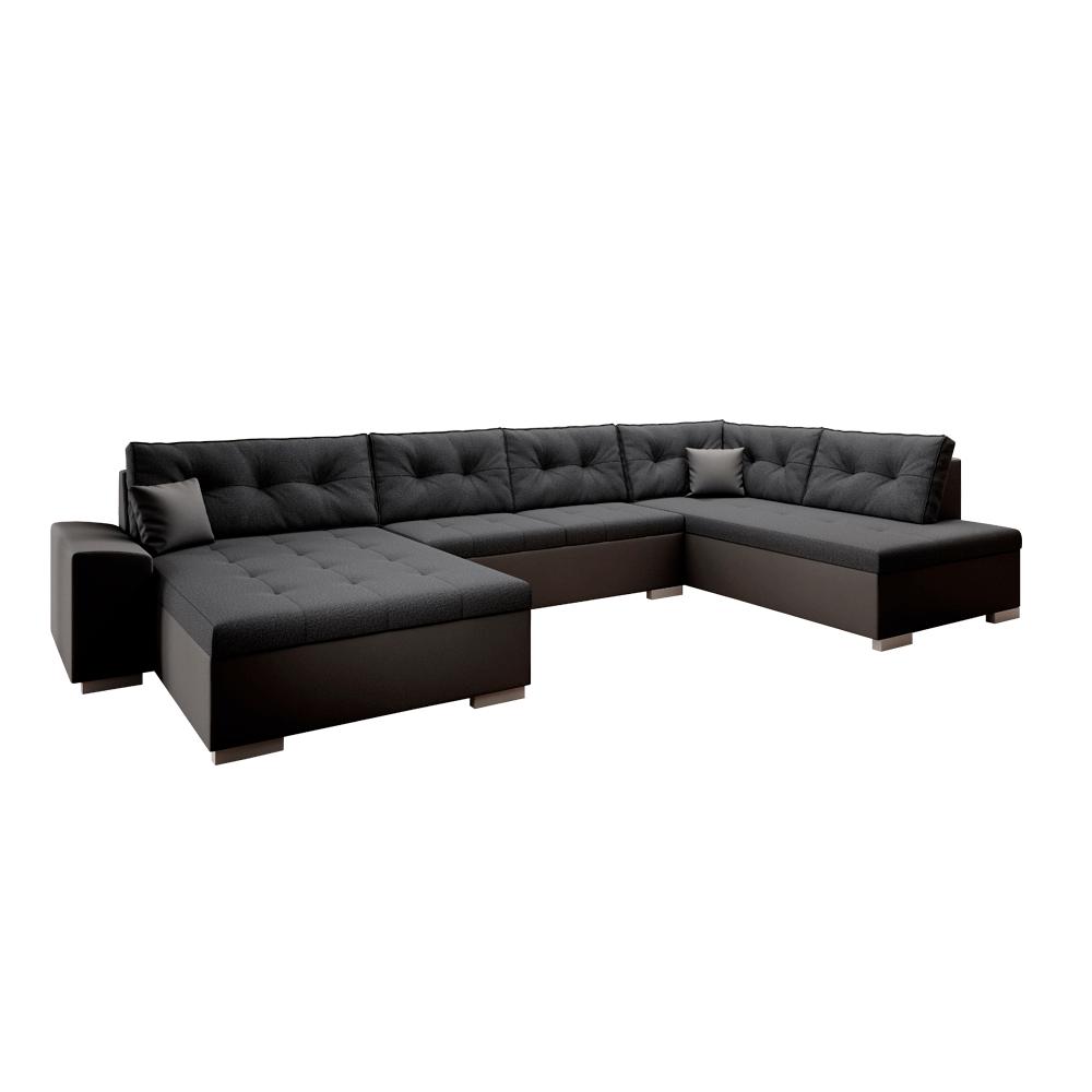 Canapea în formă de U, ţesătură din piele ecologică neagră / gri închis, VITOS