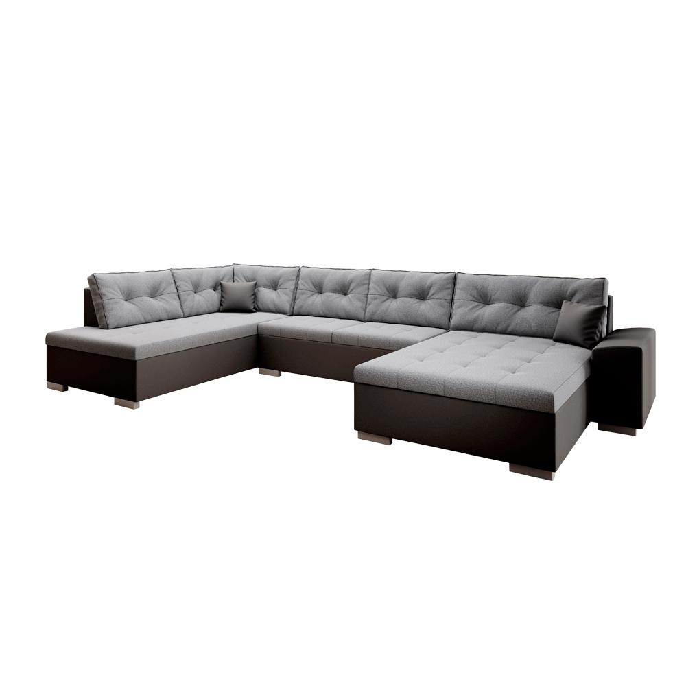 Canapea în formă de U, piele ecologică ţesătură neagră / gri, stânga, VITOS