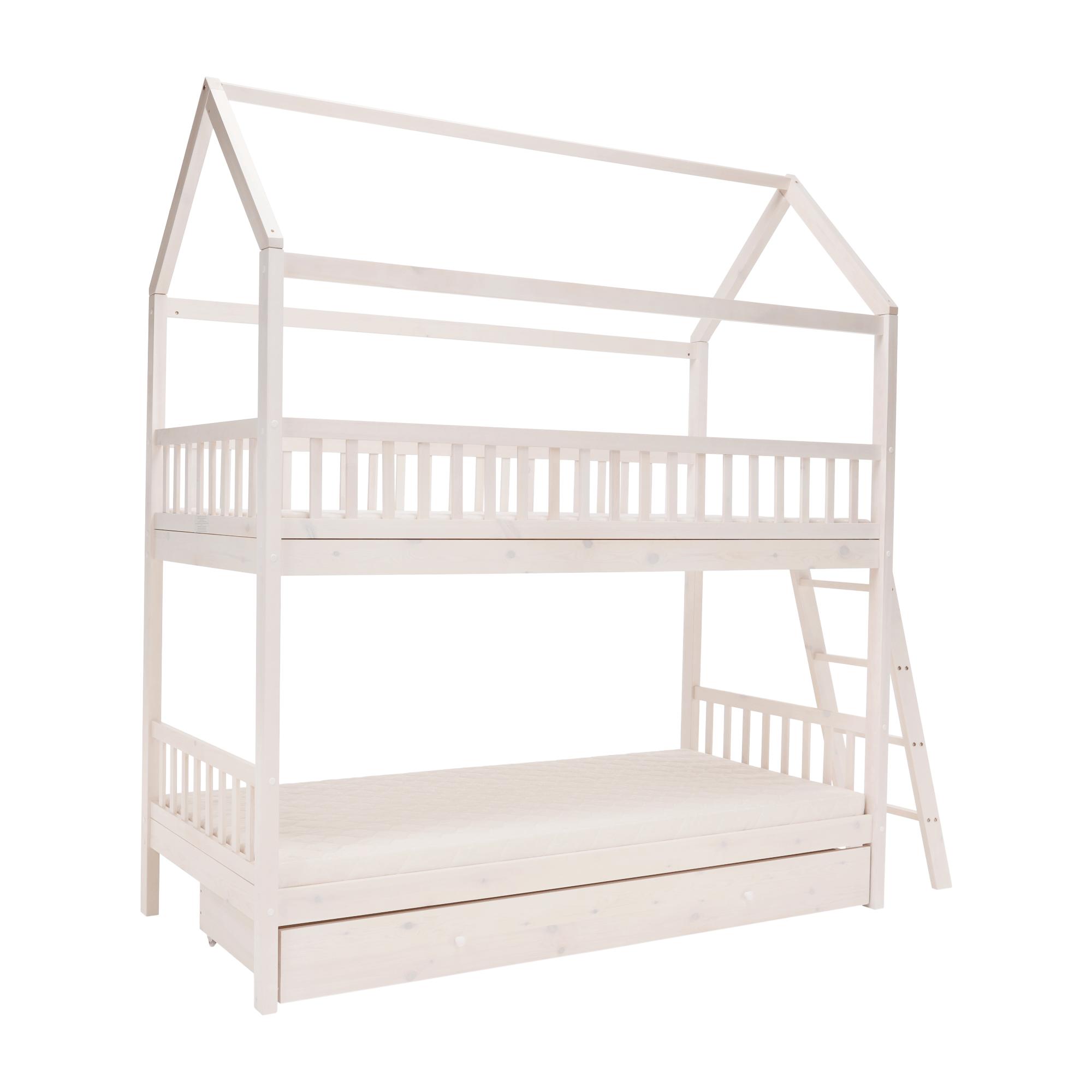 Poschodová posteľ, svetlá borovica, 90x200, EVALIA, rozbalený tovar