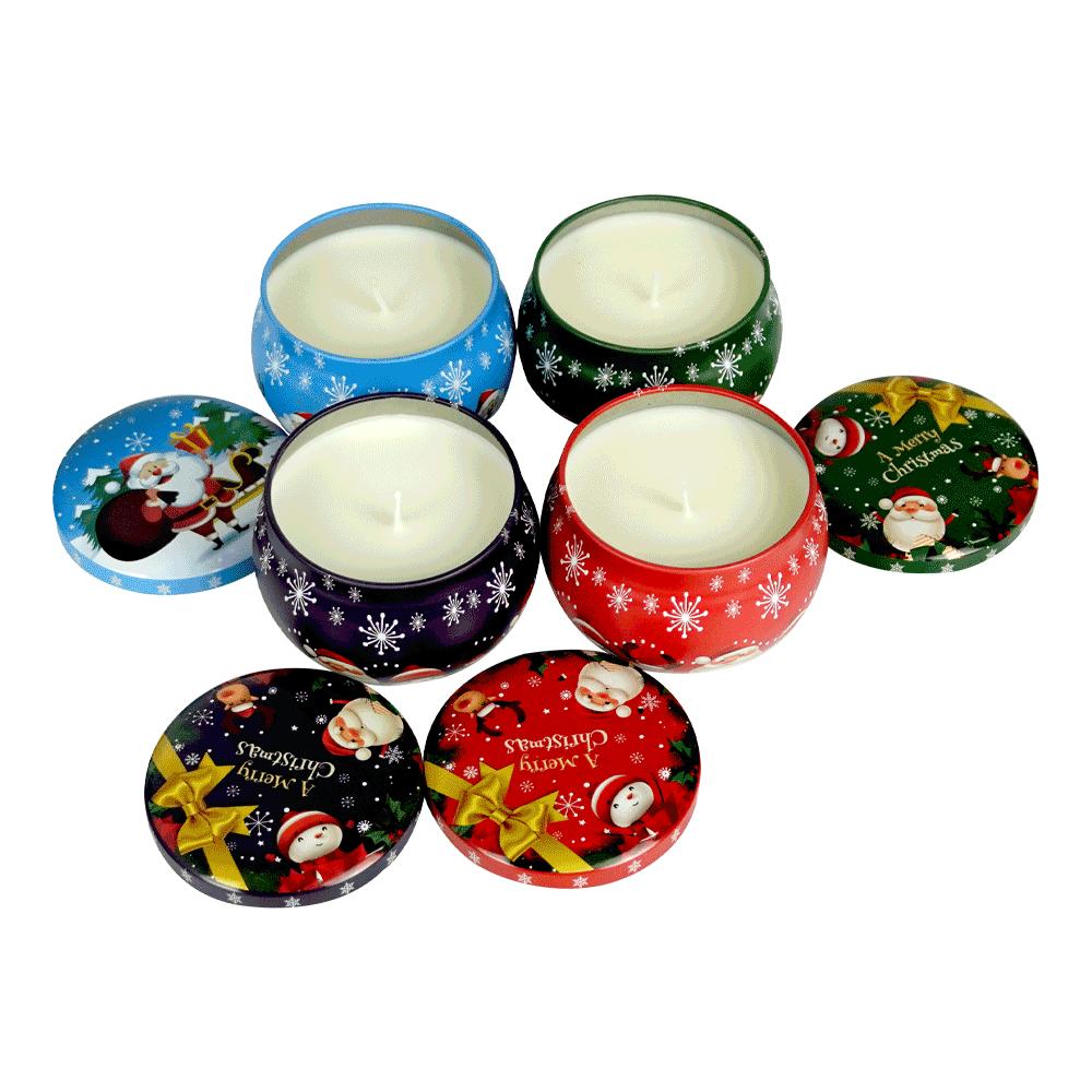 Lumânări parfumate de Craciun, set de 4, 830 g, APOLENKA