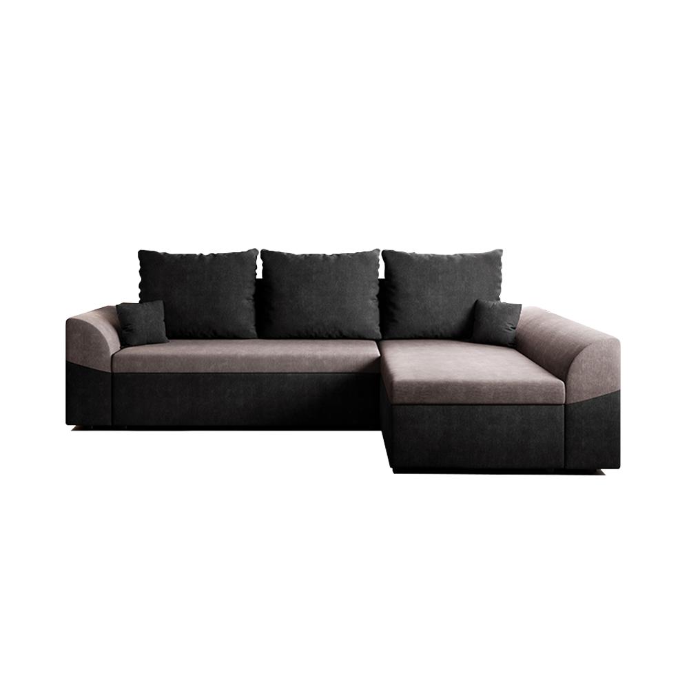 Canapea de colț rabatabilă, neagră / gri, DESNY