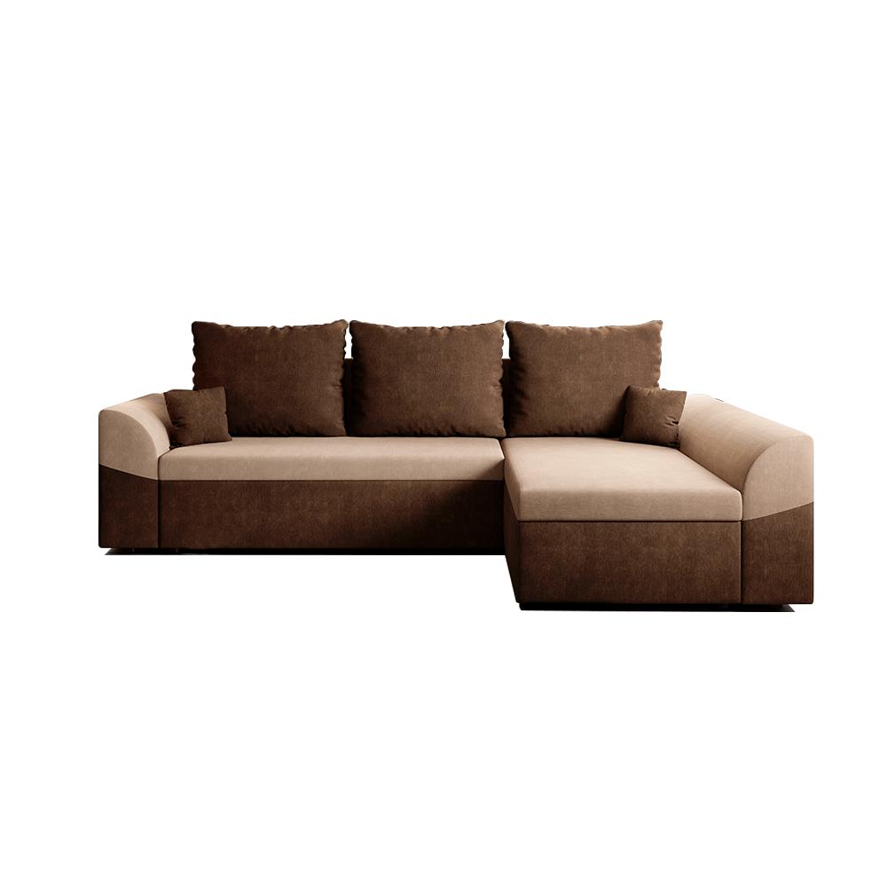Canapea de colț rabatabilă, maro / bej, DESNY