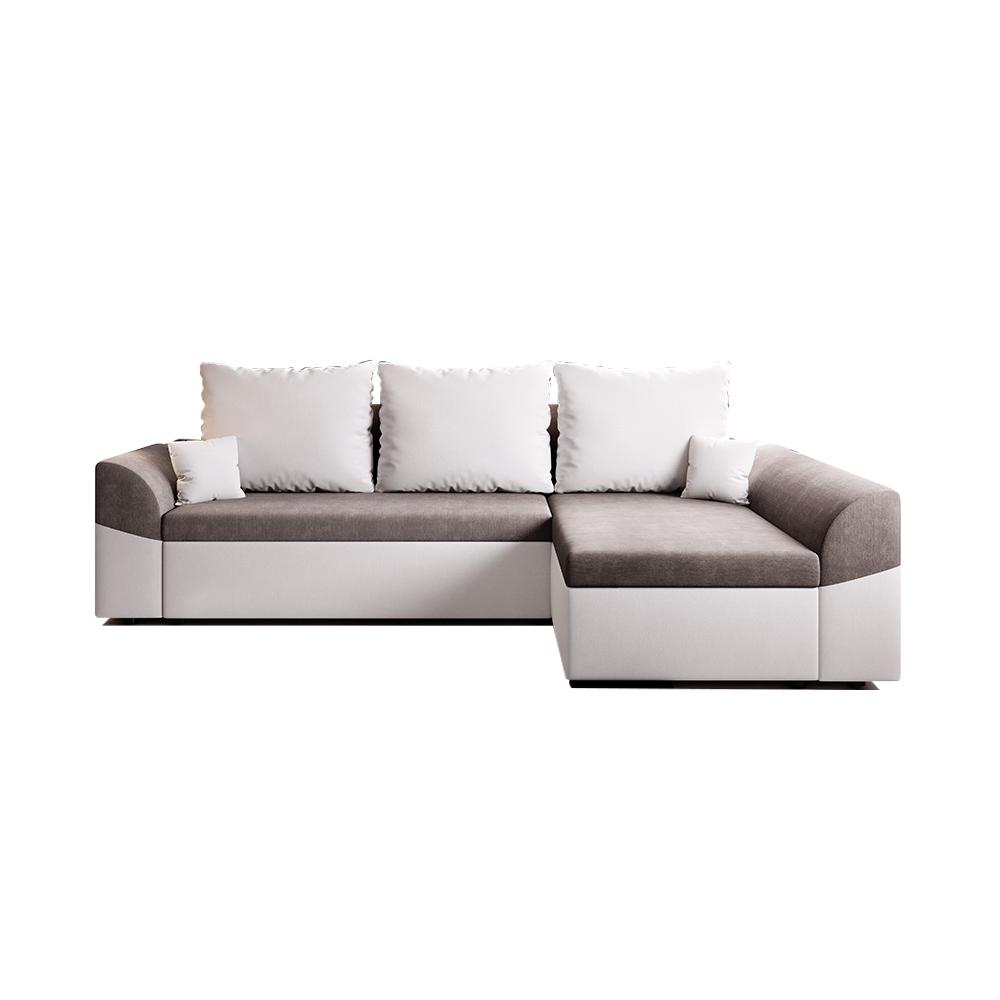 Canapea rabatabilă de colț, alb / gri, DESNY