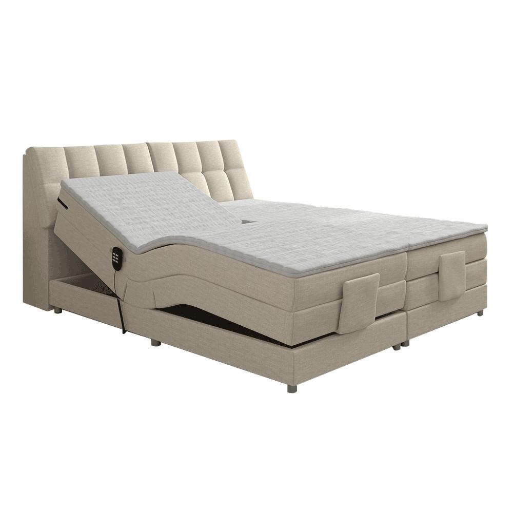 Elektromos állítható ágy, boxspring, bézs, 180x200, GERONA