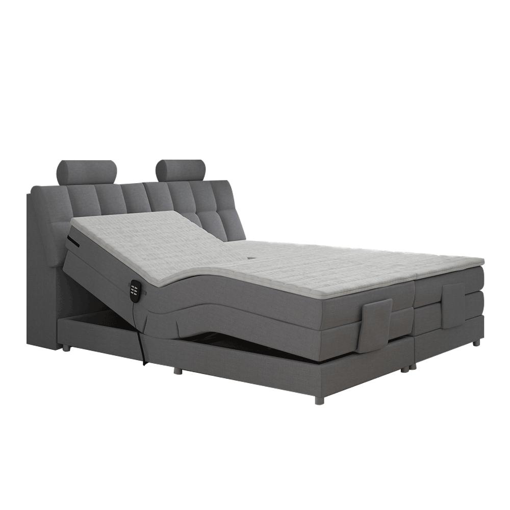 Elektromos állítható ágy, boxspring, szürke, 180x200, POLERMA