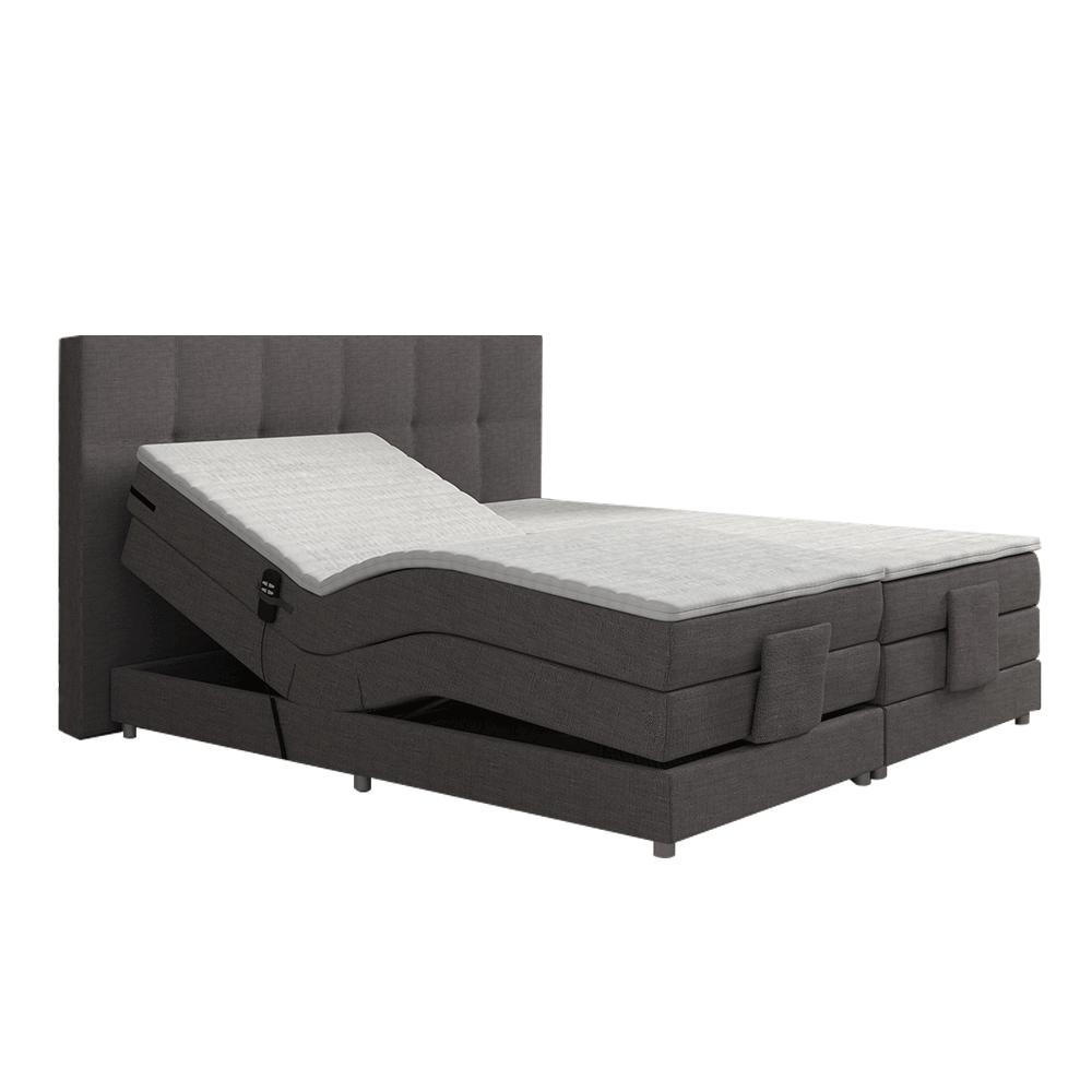 Elektromos állítható ágy, boxspring, szürke, 180x200, MURKO