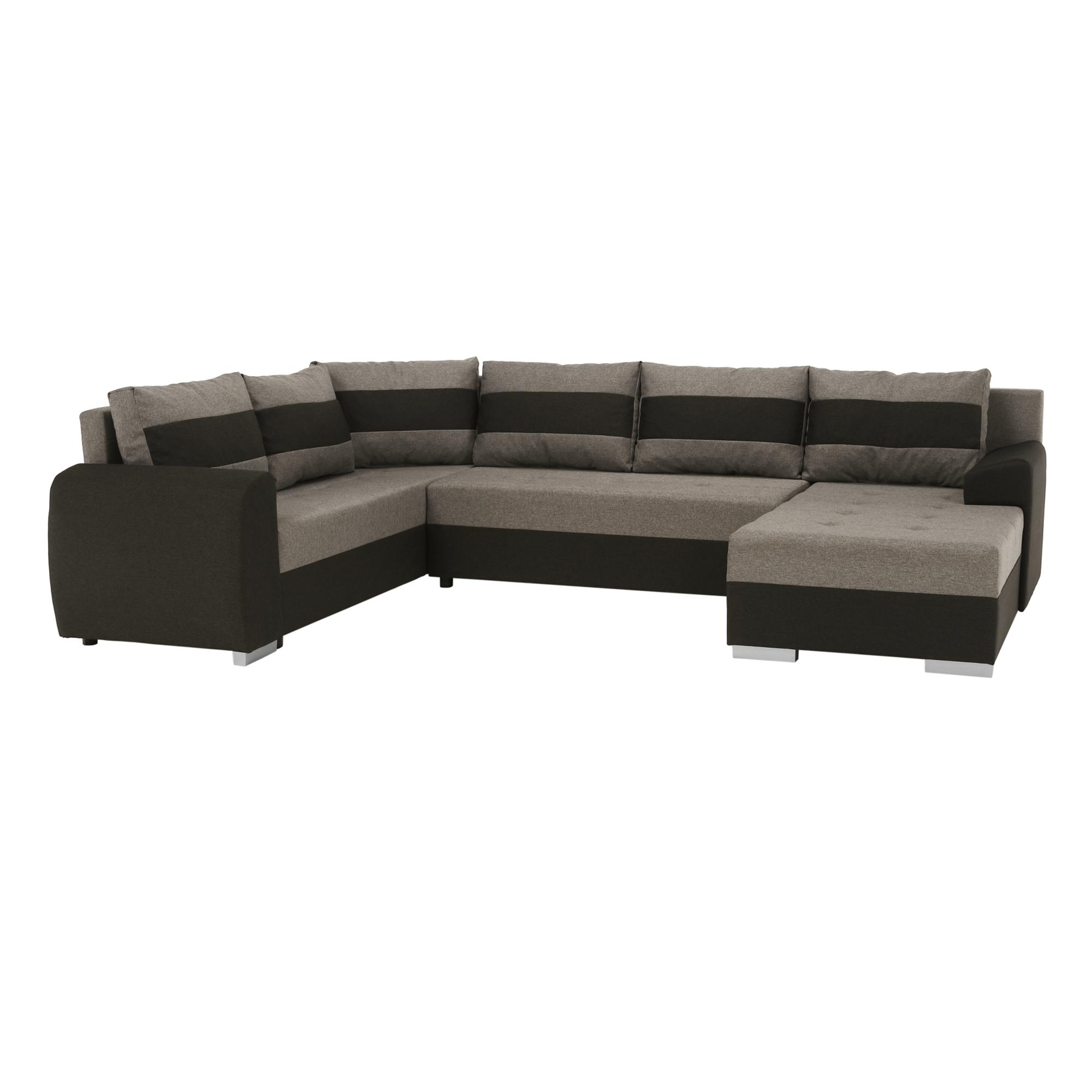 Univerzális ülőgarnitúra, barnásszürke/fekete, BONN