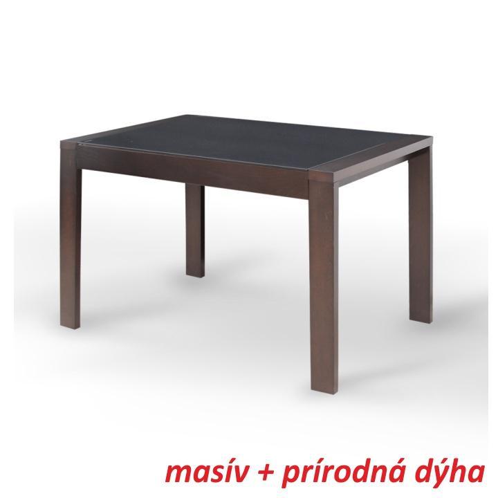 Étkező masszív összecsukható asztal,dió/fekete edzett üveg, JANADAN
