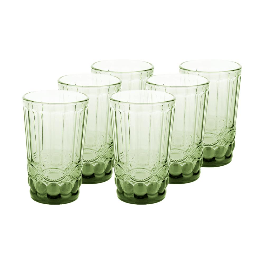 Set de pahare de apă, 6 buc, 350 ml, verde, FREGATA TYPE 6