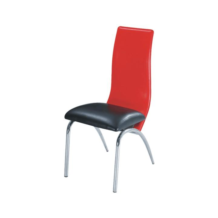Jedálenská stolička, chróm/ekokoža čierna/červená, DOUBLE