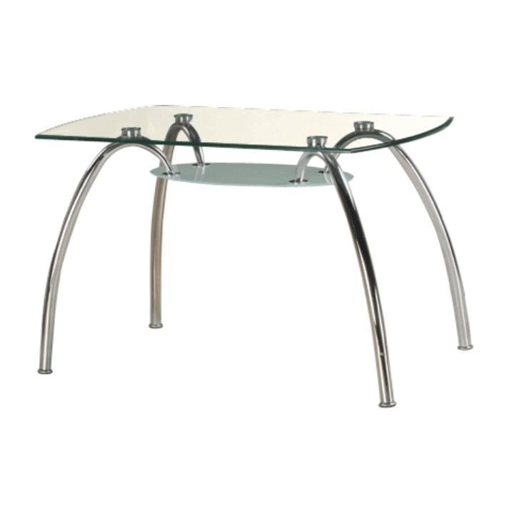 Étkezőasztal krómozot lábakkal, edzett üveg, STEVE T-649
