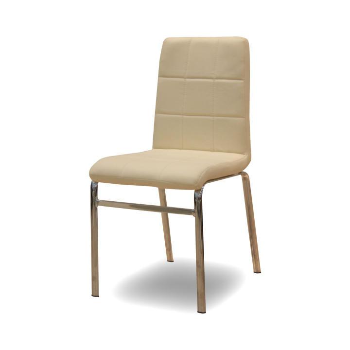 Krómozott szék - textilbőr ? krémszínű, DOROTY NEW