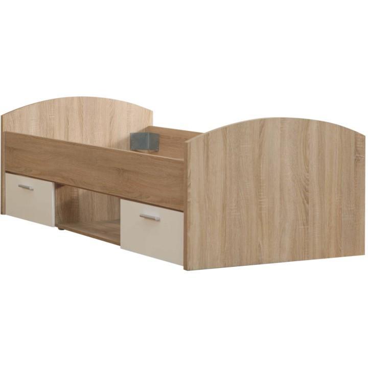 Ágy 2 fiókkal és polccal,tölgyfa/fehér, 90x200, WINIE WNL09