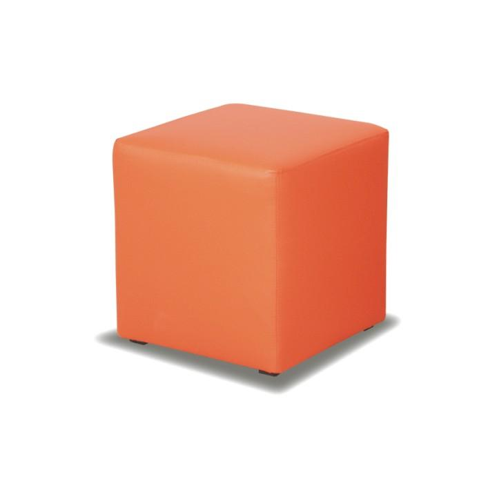 Puff, narancssárga textilbőr, KUBIK