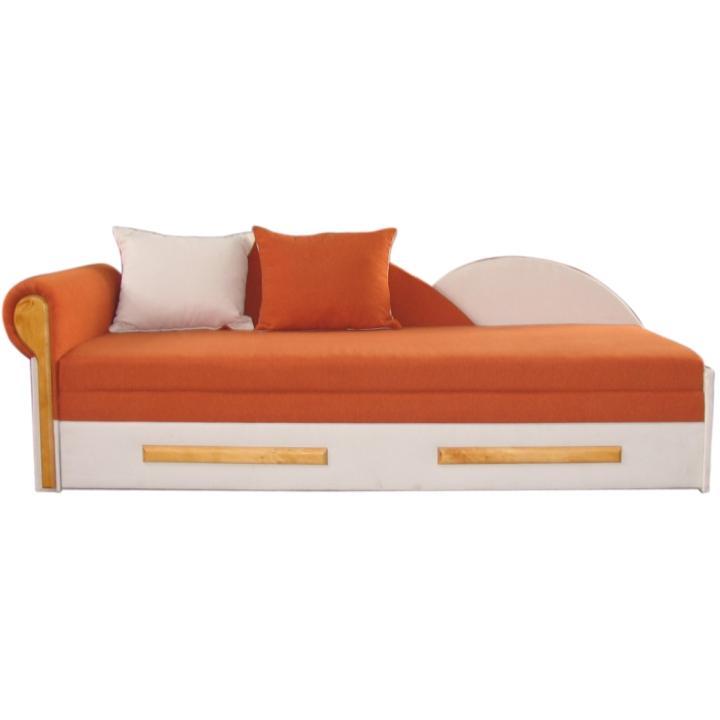 Kanapé ágyfunkcióval, narancssárga / bézs színű, bal oldalas kivitel, DIANE