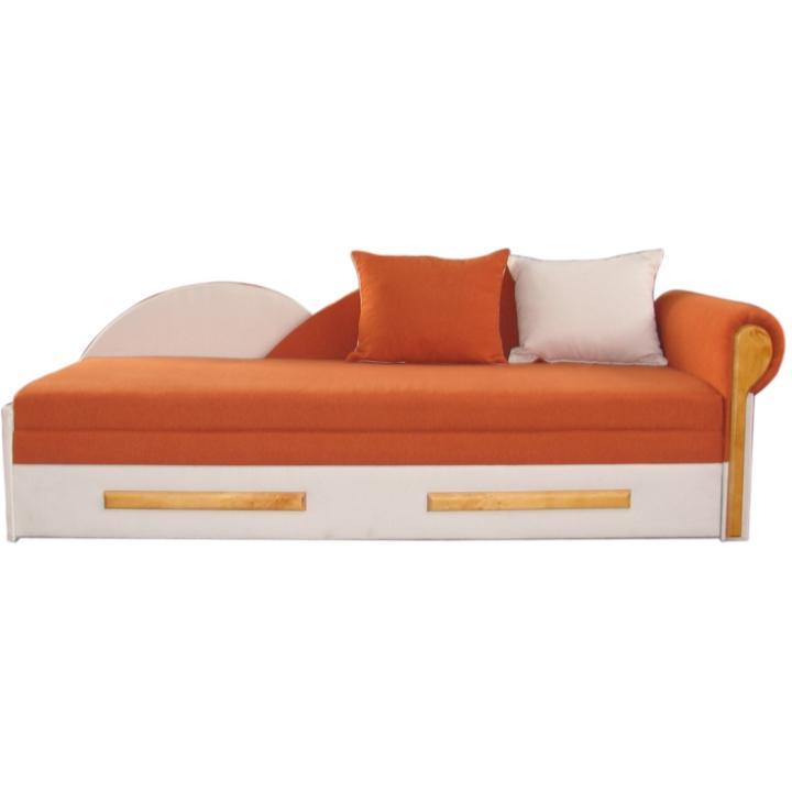 Kanapé ágyfunkcióval, narancssárga/bézs, jobb oldali kivitel, DIANE