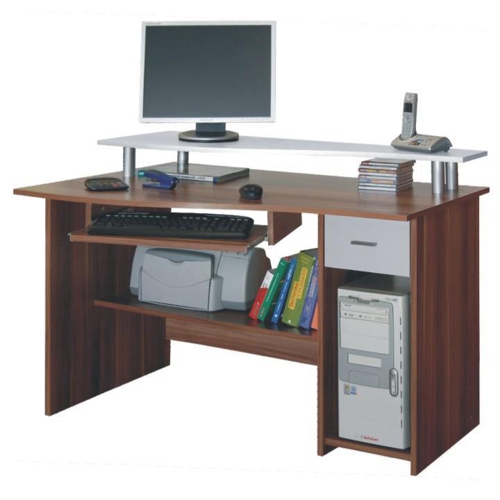 Számítógépasztal, szilva/fehér, PLUTO