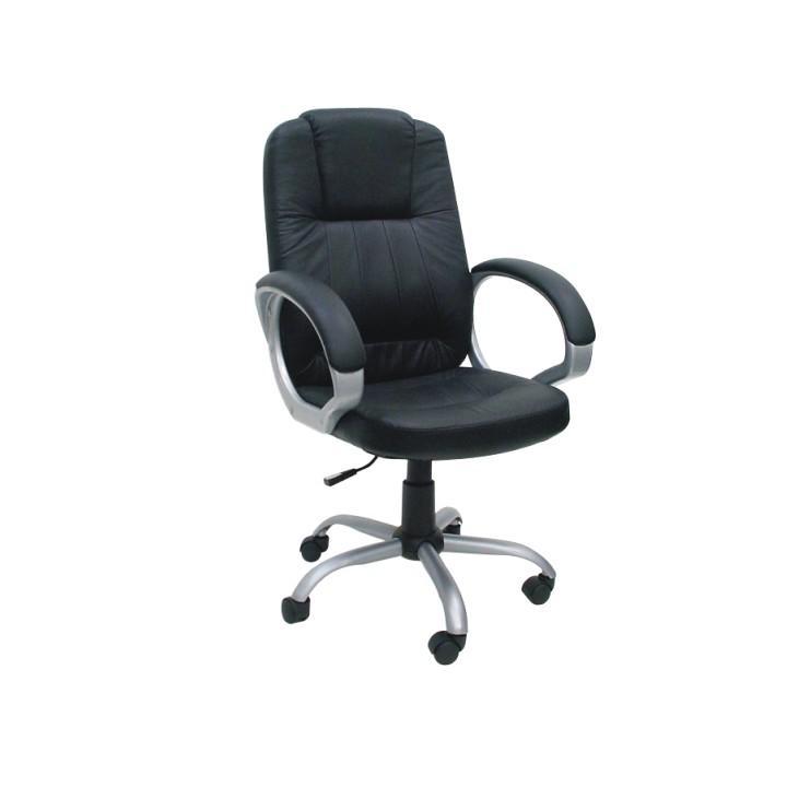 Kancelárske kreslo, čierna textilná koža, MEGA