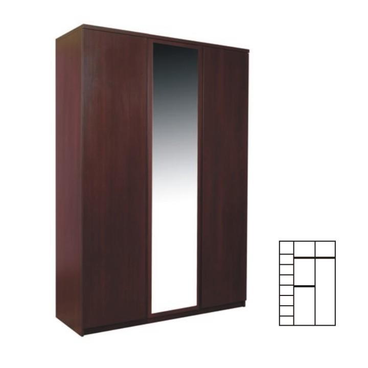 3 ajtós szekrény ruhaakasztóval és polcokkal, erdei fenyő/lareto, PELLO 22 TÍPUS