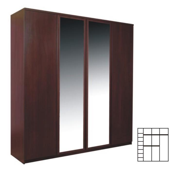 Skriňa so zrkadlom, 4-dverová, sosna lareto, PELLO TYP 23